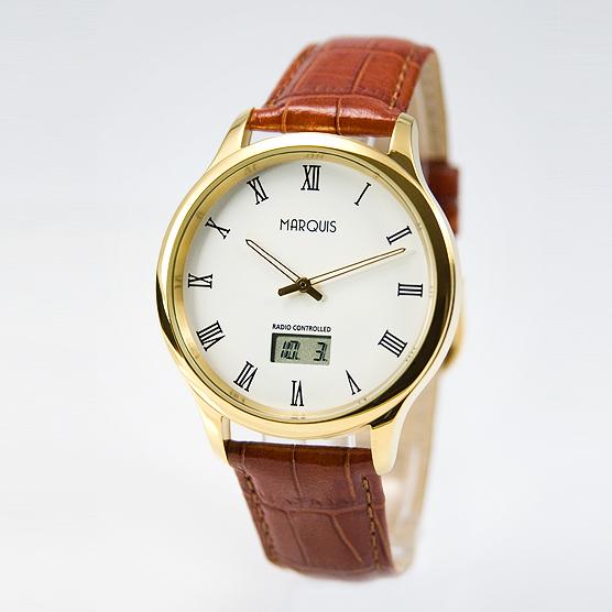 Elegante-Herren-Funk-Armbanduhr-JUNGHANS-WERK-Edelstahl-Leder-Gold-964-4702-78