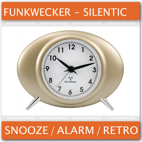 funkwecker retro design junghans uhrwerk silentic snooze wecker tb ebay. Black Bedroom Furniture Sets. Home Design Ideas
