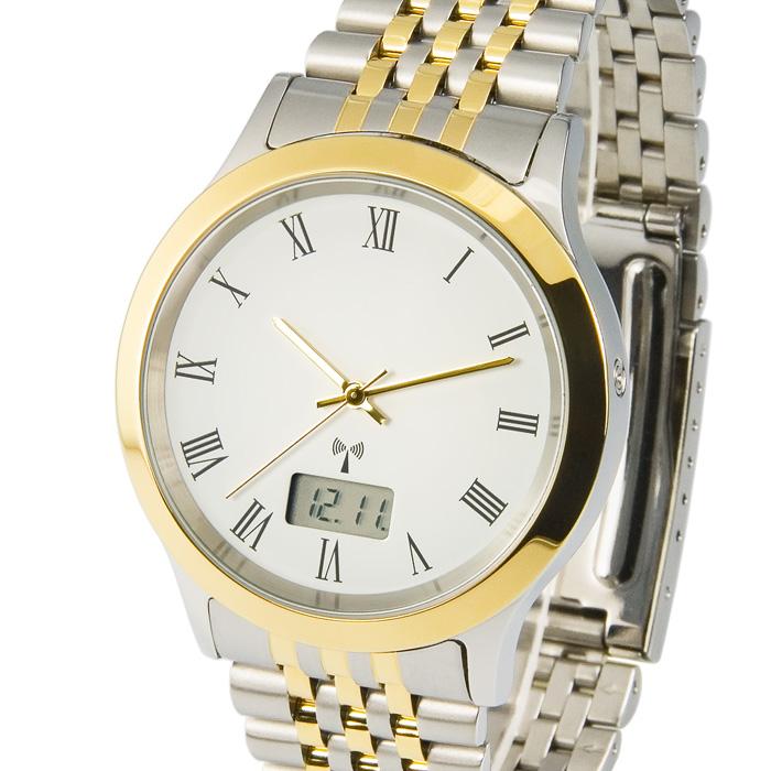 Elegante-Bicolor-Herren-Funkuhr-Junghans-Uhrwerk-Armbanduhr-Edelstahl-964-6104
