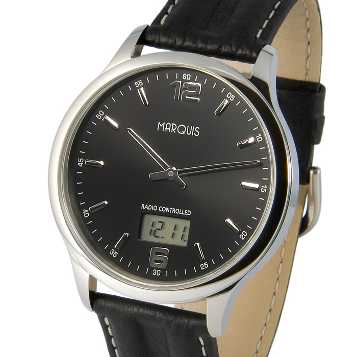 Elegante-Herren-Funkuhr-Junghans-Uhrwerk-Edelstahl-Leder-Armbanduhr-964-6178