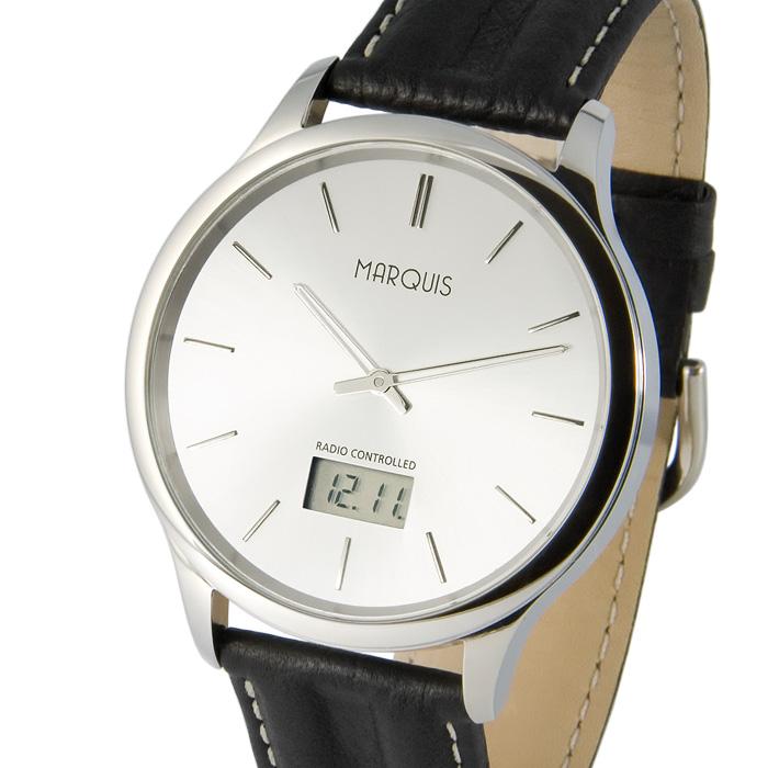 Elegante-Herren-Funkuhr-Junghans-Uhrwerk-Leder-Edelstahl-Armbanduhr-964-6378